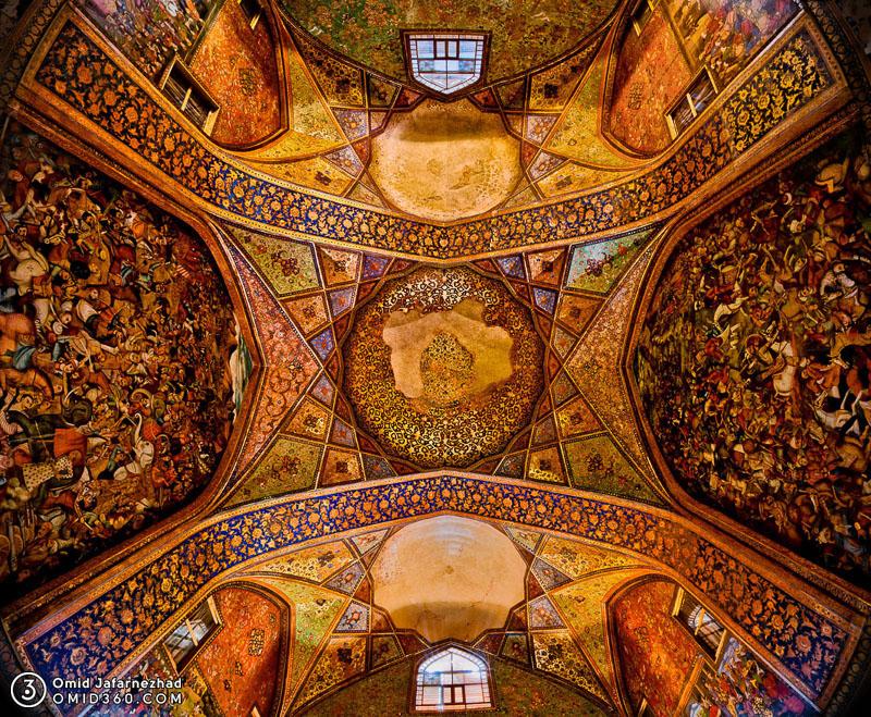 Chehel Sotoun Isfahan سقف کاخ چهلستون اصفهان  - ایرانگردی با تور مجازی