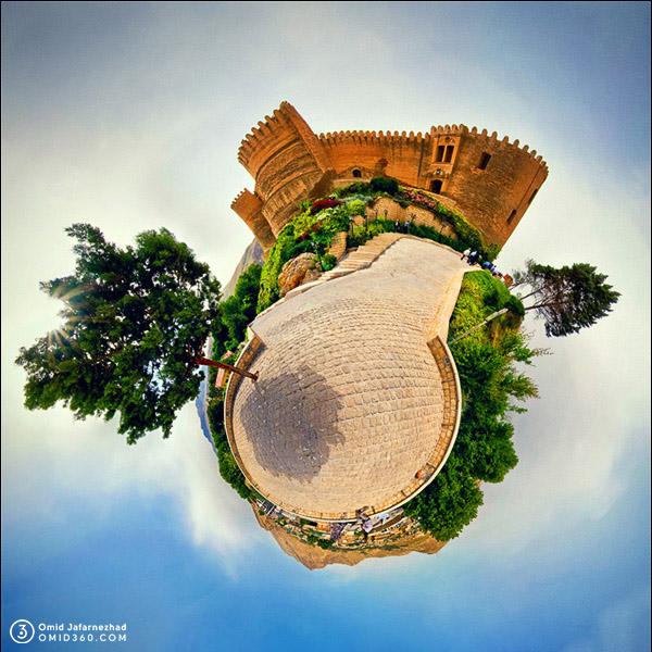 Little planet omid360.com قلعه فلک الافلاک خرم آباد