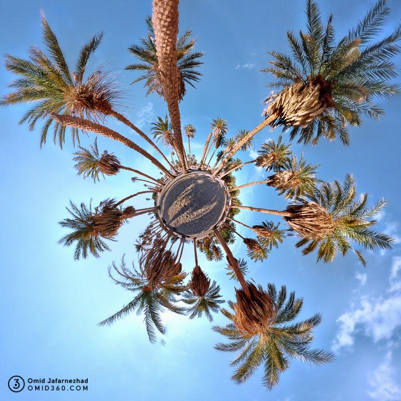 Little planet omid360.com نخلستان روستاهای شهداد کرمان1 - ایرانگردی با تور مجازی