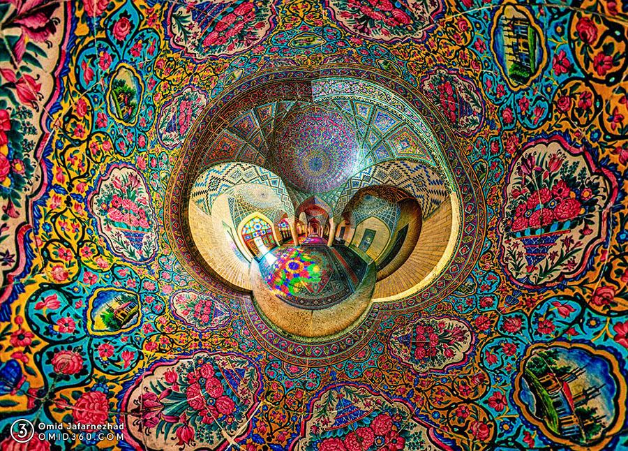 Nasir Al Mulk Mosque Shiraz کاشیکاری مسجد نصیرالملک شیراز - همکاری با Vinyl Williams برای تهیه کاور آلبوم موسیقی با عکاسی 360