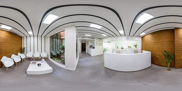 تور مجازی مطب کیلینیک دندانپزشکی ایده - عکس 360 گسترده از پذیرش و اتاق انتظار بیماران