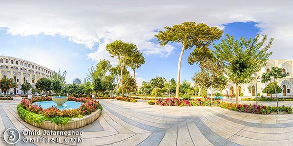 تور مجازی هنل عباسی اصفهان عکس پانوراما از حیاط در روز