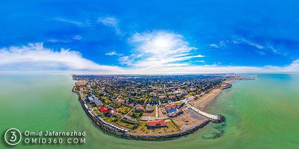 عکس هوایی دریای خزر مازندران در خزر شهر بابلسر - عکاسی هوایی 360 درجه - تور مجازی هوایی