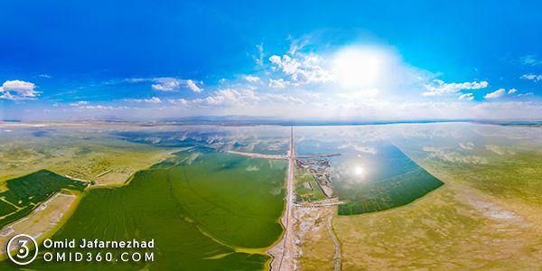 عکس هوایی تالاب میقان اراک - عکاسی هوایی 360 درجه - تور مجازی هوایی