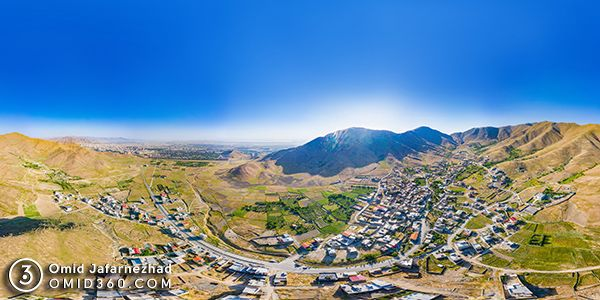 تور مجازی روستای نظم آباد اراک - عکاسی هوایی 360 درجه - تور مجازی هوایی